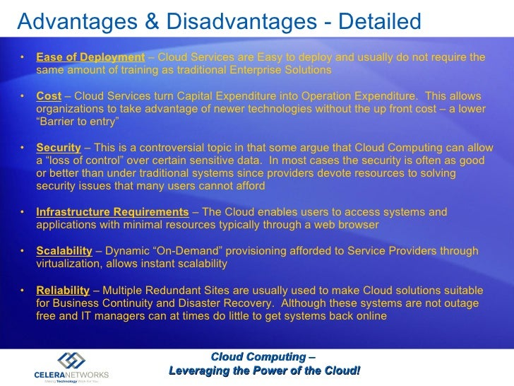 Advantages disadvantages of cloud com