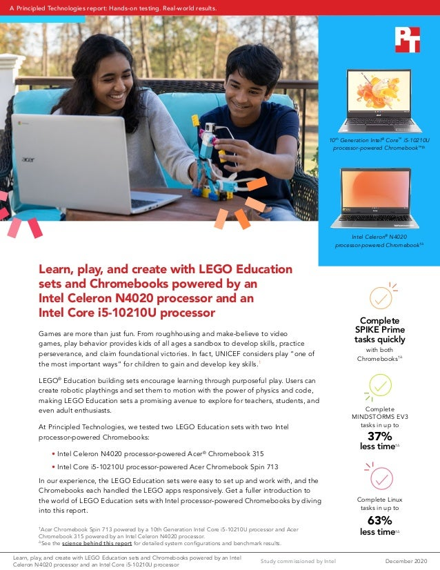 Learn, play, and create with LEGO Education sets and Chromebooks powered by an Intel Celeron N4020 processor and an Intel ...