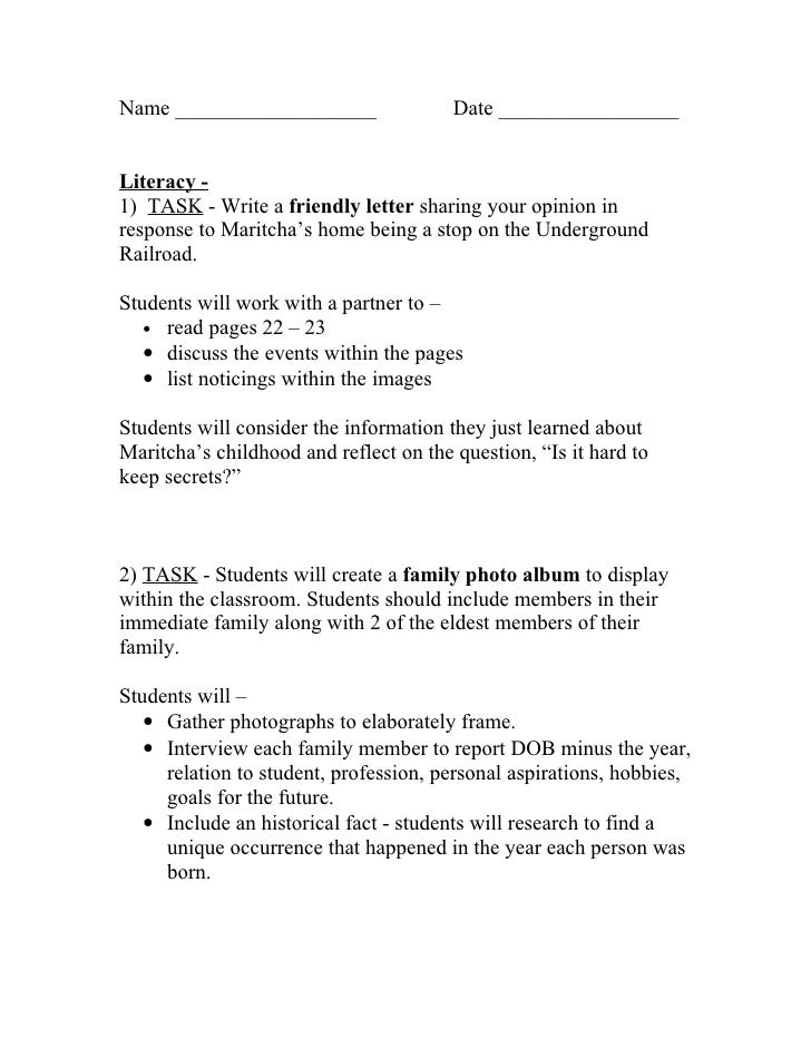 Name ___________________                Date _________________   Literacy - 1) TASK - Write a friendly letter sharing your...