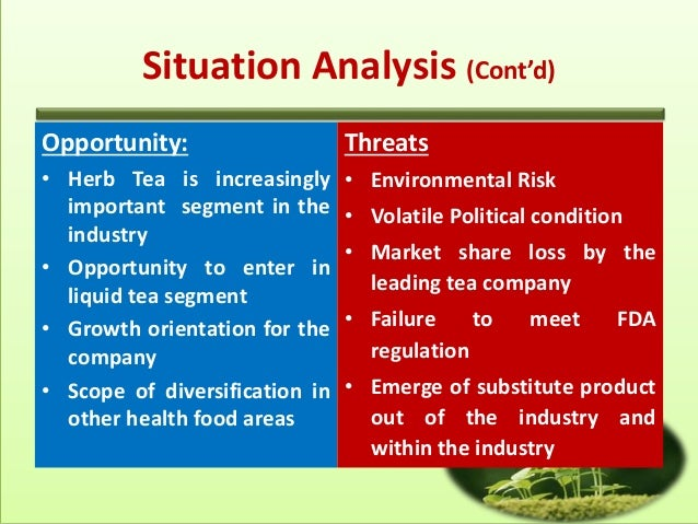 threats in tea industry Swot analysis part 1 – strengths & weaknesses kelli wise aug 19, 2010  get a cup of coffee or herbal tea,  we'll add the opportunities and threats.
