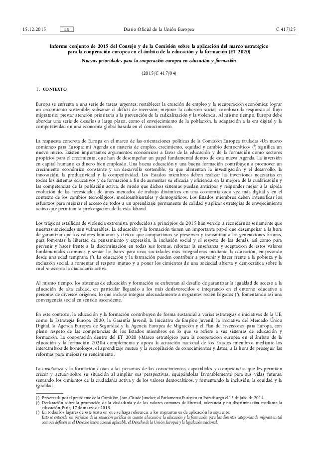 Informe conjunto de 2015 del Consejo y de la Comisión sobre la aplicación del marco estratégico para la cooperación europe...