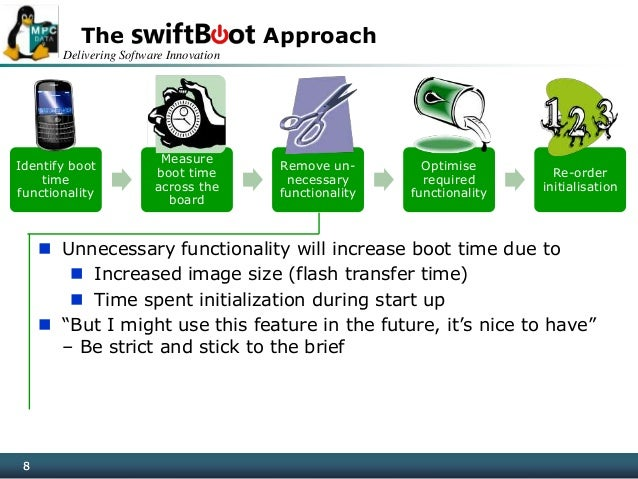 Delivering Software Innovation 8 The Approach 8 Identify boot time functionality Measure boot time across the board Remove...
