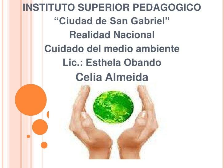 """INSTITUTO SUPERIOR PEDAGOGICO      """"Ciudad de San Gabriel""""         Realidad Nacional    Cuidado del medio ambiente       L..."""