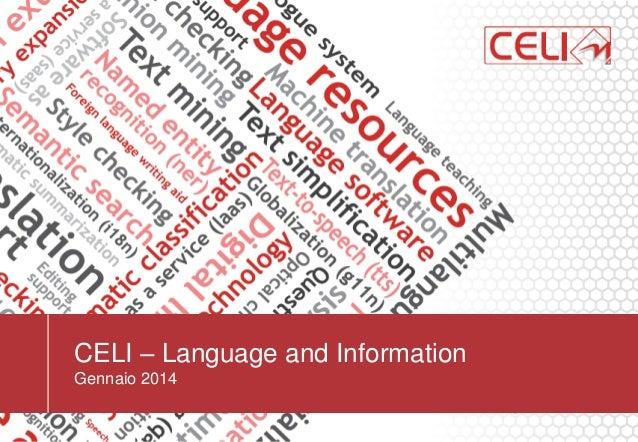 CELI – Language and Information Gennaio 2014