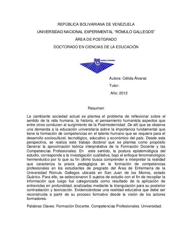 """REPÚBLICA BOLIVARIANA DE VENEZUELA      UNIVERSIDAD NACIONAL EXPERIMENTAL """"RÓMULO GALLEGOS""""                             ÁR..."""