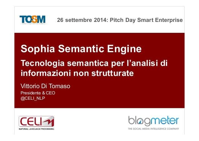 26 settembre 2014: Pitch Day Smart Enterprise 1 Sophia Semantic Engine Tecnologia semantica per l'analisi di informazioni ...