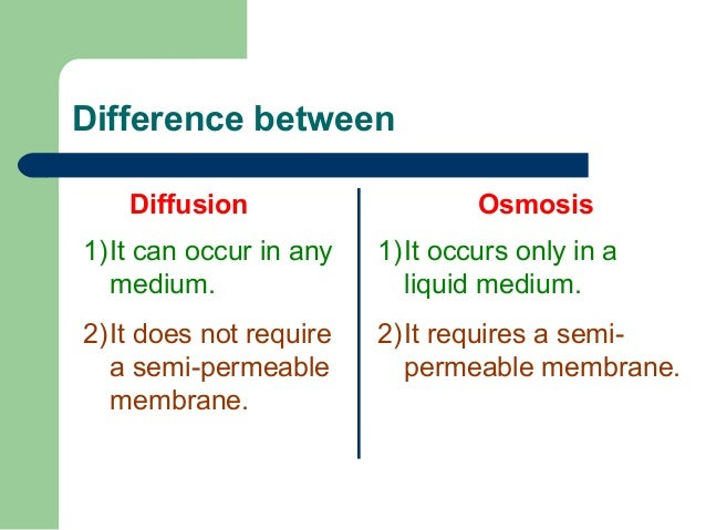 difference between diffusion and osmosis Notes for biology class on diffusion and osmosis concentration gradient - a difference between concentrations in a space.