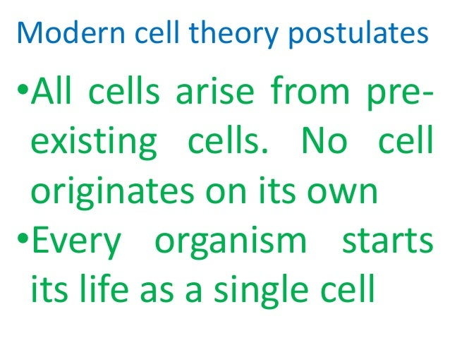 postulates of cell theory