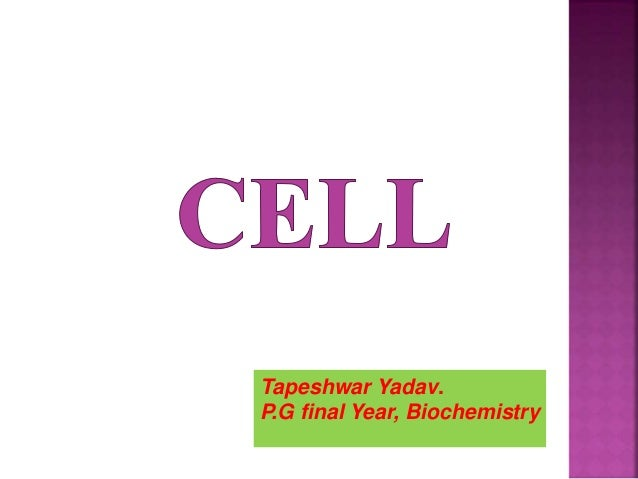 Tapeshwar Yadav. P.G final Year, Biochemistry