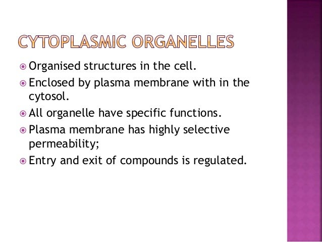  Organised structures in the cell.  Enclosed by plasma membrane with in the cytosol.  All organelle have specific funct...