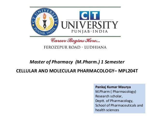 Pankaj Kumar Maurya M.Pharm ( Pharmacology) Research scholar, Deptt. of Pharmacology, School of Pharmaceuticals and health...