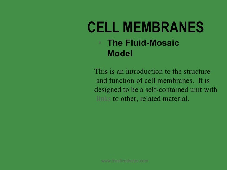 CELL MEMBRANES <ul><li>The Fluid-Mosaic Model </li></ul>This is an introduction to the structure and function of cell memb...