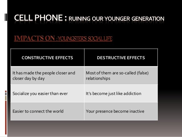 Mobile phone todays young generation