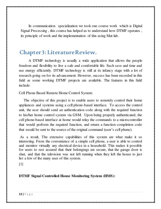literature review on dtmf project
