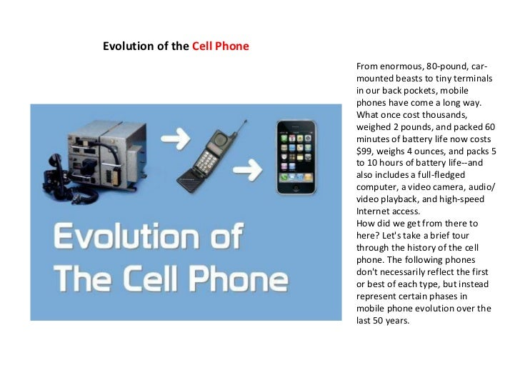 Cellphone evolution