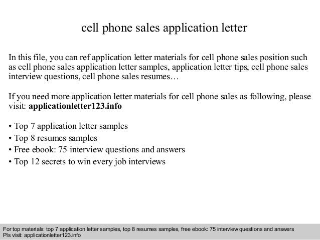 Cell phone sales application letter for Cover letter for mobile phone sales