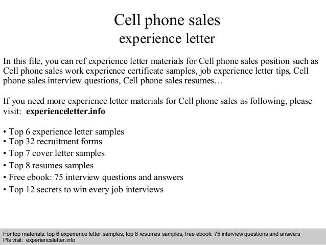 Cell phone sales experience letter for Cover letter for mobile phone sales