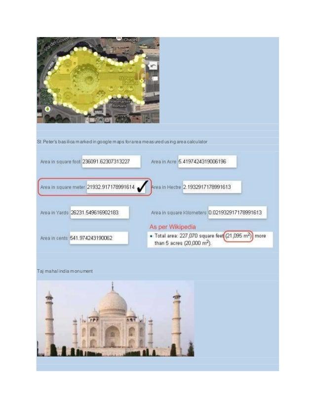 St Peter's basilica marked in google maps for area measured using area calculator Taj mahal india monument
