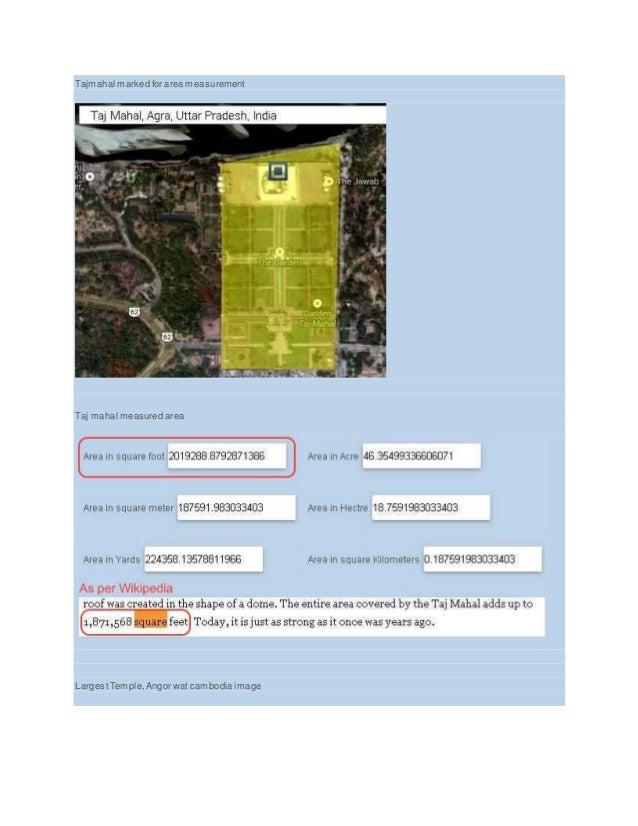Tajmahal marked for area measurement Taj mahal measured area LargestTemple,Angor wat cambodia image