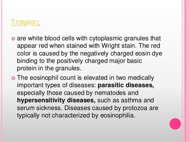 2.ESINOPHILS:  are white blood cells with cytoplasmic granules that appear red when stained with Wright stain. The red co...