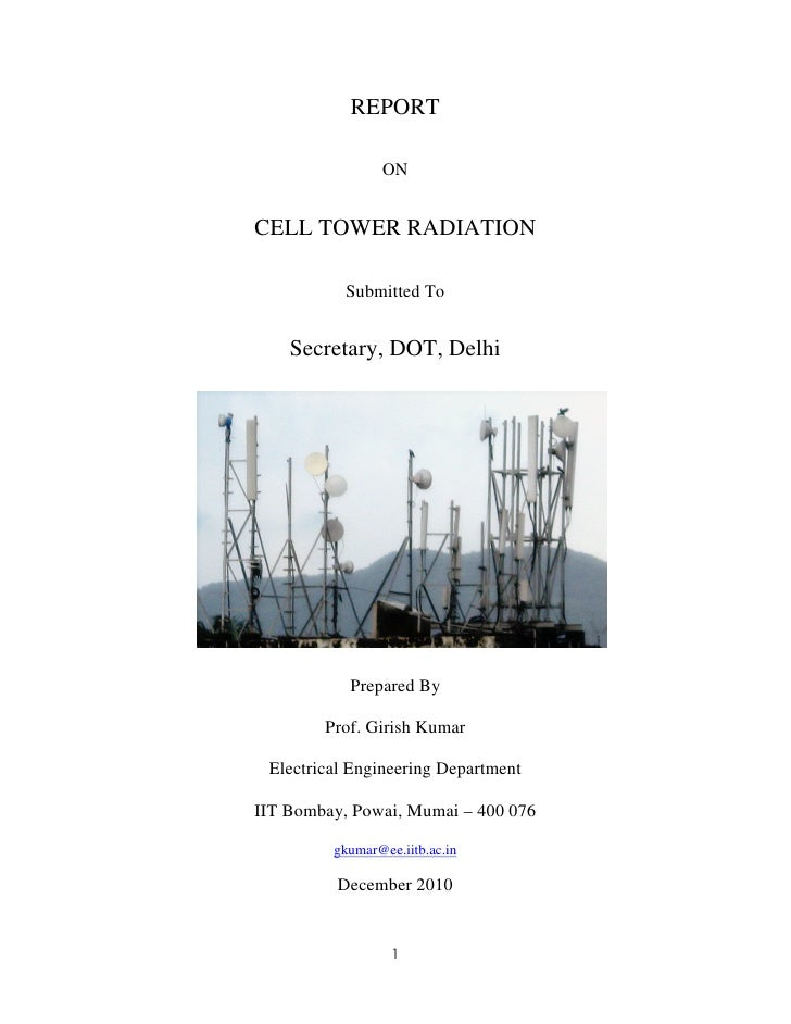 REPORT                ONCELL TOWER RADIATION           Submitted To    Secretary, DOT, Delhi           Prepared By        ...