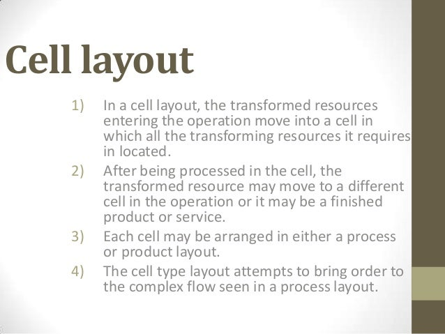 Cellular layout/Manufacturing