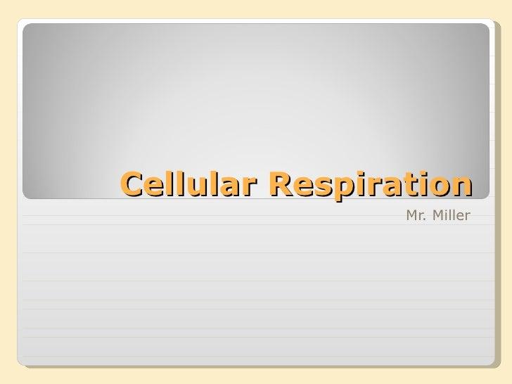 Cellular Respiration Mr. Miller