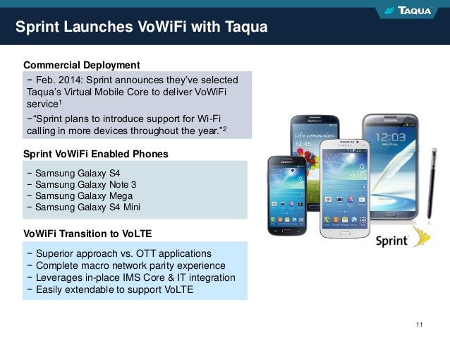 Proprietary & Confidential 11 Sprint Launches VoWiFi with Taqua − Feb. 2014: Sprint announces they've selected Taqua's Vir...