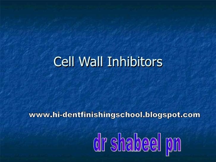 Cell Wall Inhibitors dr shabeel pn www.hi-dentfinishingschool.blogspot.com