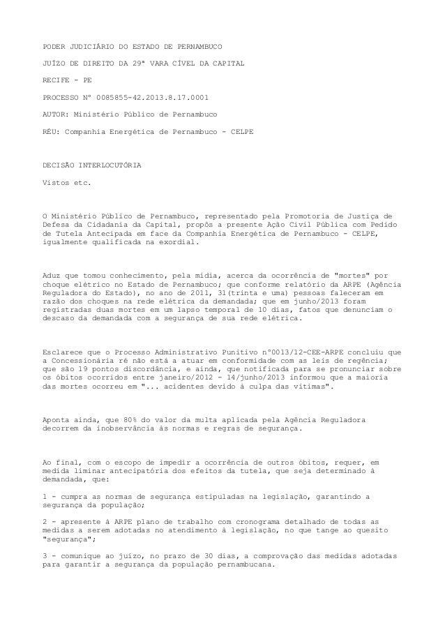 PODER JUDICIÁRIO DO ESTADO DE PERNAMBUCO JUÍZO DE DIREITO DA 29ª VARA CÍVEL DA CAPITAL RECIFE - PE PROCESSO Nº 0085855-42....
