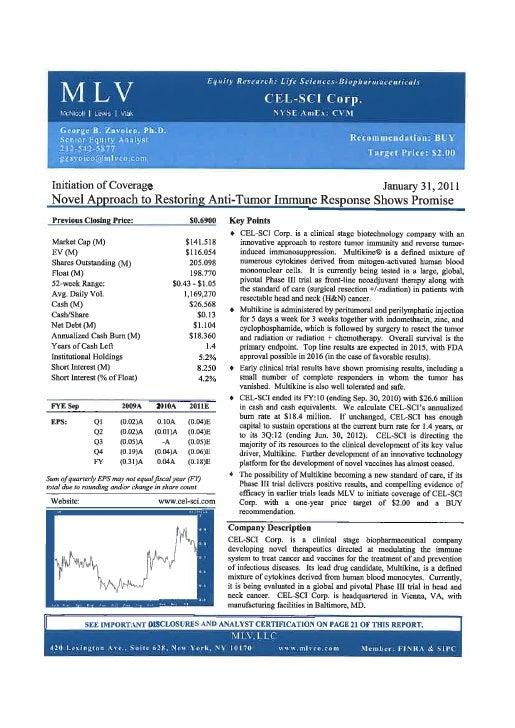 CEL-SCI Analyst Report