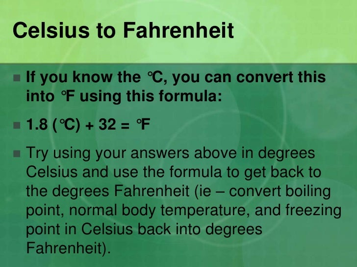 Celsius And Fahrenheit Slides For Students