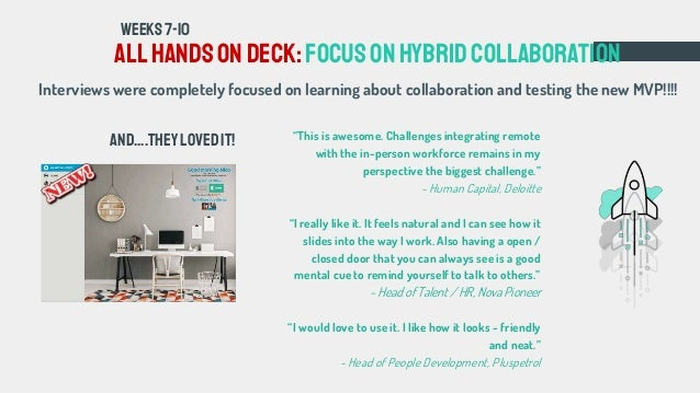 All handsondeck: FOCUSonhybridcollaboration WEEKS7-10 Interviews were completely focused on learning about collaboration a...