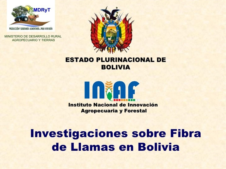 Investigaciones sobre Fibra de Llamas en Bolivia MINISTERIO DE DESARROLLO RURAL  AGROPECUARIO Y TIERRAS Instituto Nacional...
