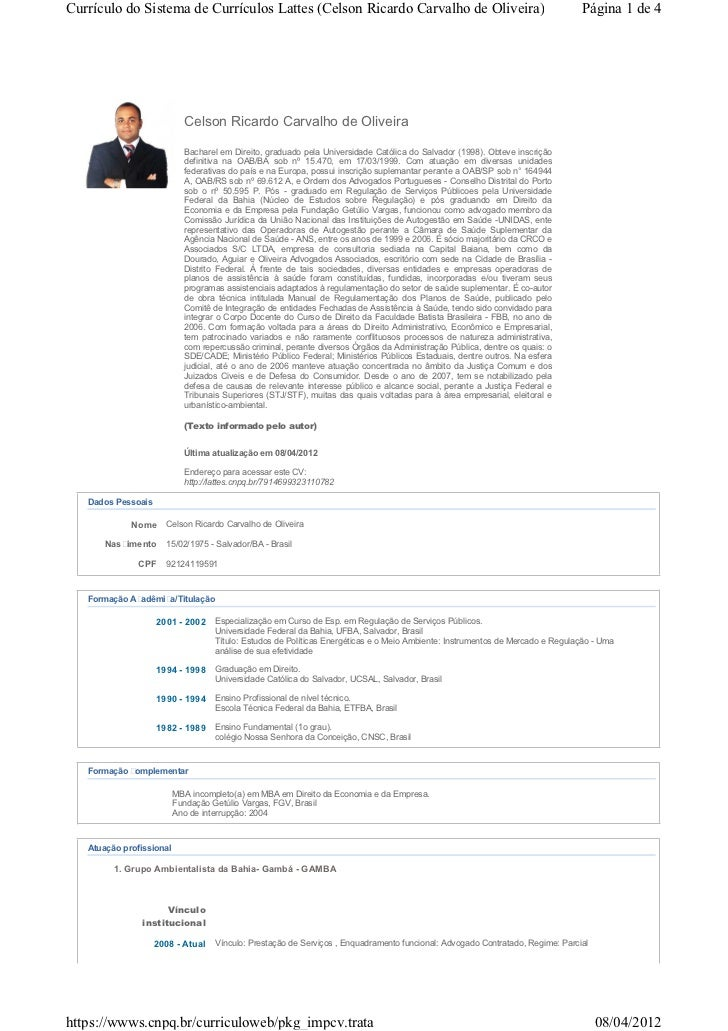 Currículo do Sistema de Currículos Lattes (Celson Ricardo Carvalho de Oliveira)                                           ...