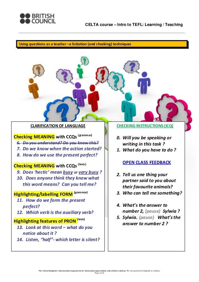 British Council CELTA input materials for teacher training