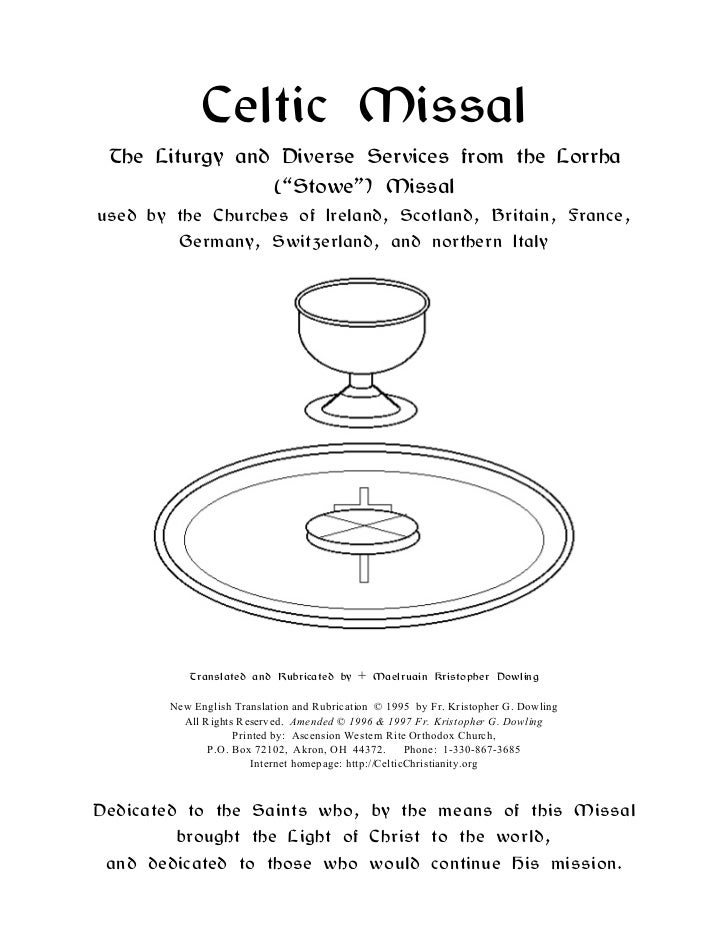 """Celtic Missal The Liturgy and Diverse Services from the Lorrha                (""""Stowe"""") Missalused by the Churches of Irel..."""