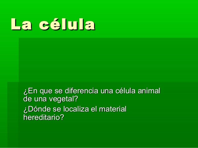 La célulaLa célula ¿En que se diferencia una célula animal¿En que se diferencia una célula animal de una vegetal?de una ve...