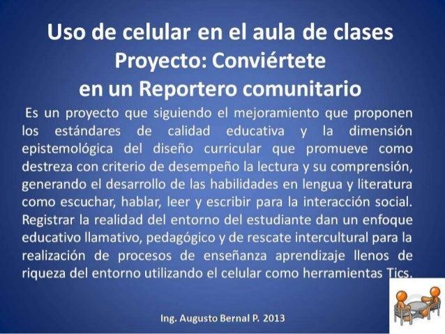 Uso de celular en el aula de clases proyecto for Proyecto de construccion de aulas de clases
