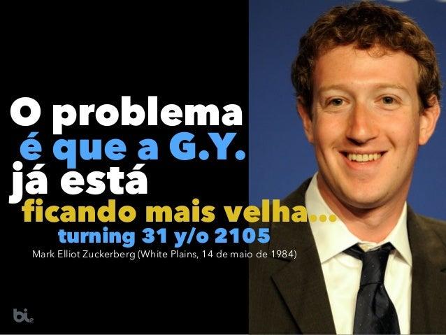 O problema é que a G.Y. já está ficando mais velha… Mark Elliot Zuckerberg (White Plains, 14 de maio de 1984) turning 31 y...