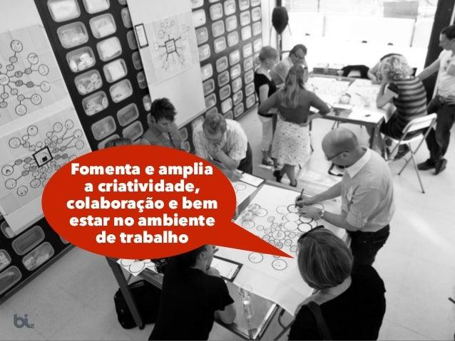 Fomenta e amplia a criatividade, colaboração e bem estar no ambiente de trabalho