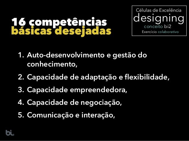 16 competências básicas desejadas 1. Auto-desenvolvimento e gestão do conhecimento, 2. Capacidade de adaptação e flexibilid...
