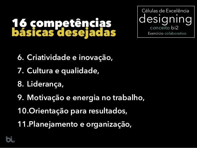 6. Criatividade e inovação, 7. Cultura e qualidade, 8. Liderança, 9. Motivação e energia no trabalho, 10.Orientação para r...
