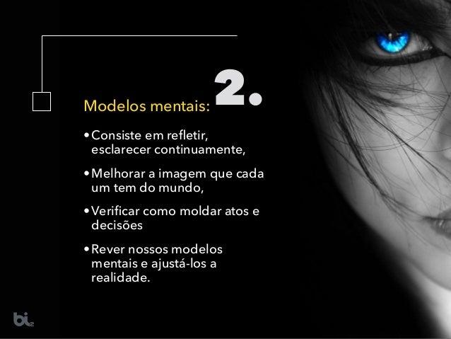 Modelos mentais: •Consiste em refletir, esclarecer continuamente, •Melhorar a imagem que cada um tem do mundo, •Verificar co...