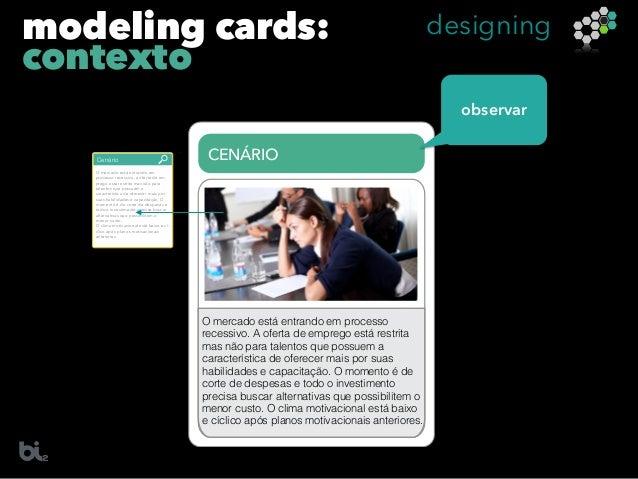 modeling cards: contexto designing Cenário O mercado está entrando em processo recessivo, a oferta de em- prego está restr...