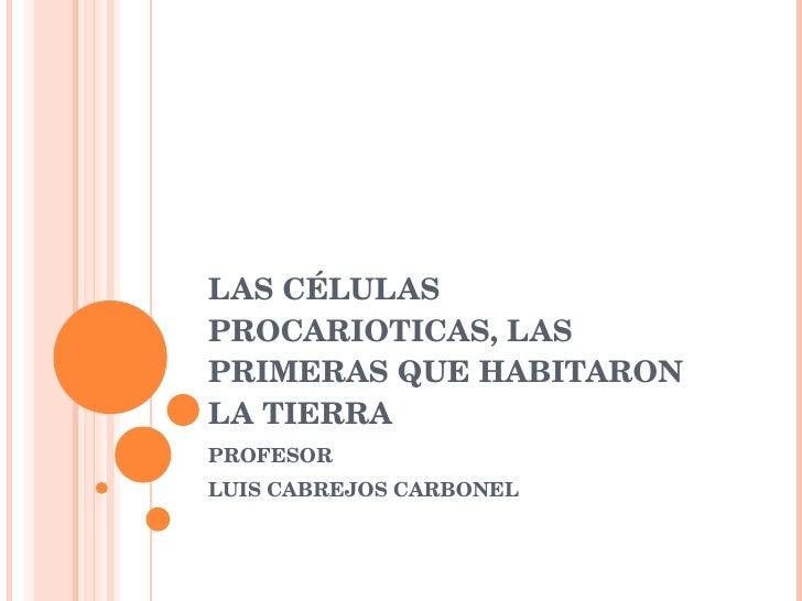 LAS CÉLULAS PROCARIOTICAS, LAS PRIMERAS QUE HABITARON LA TIERRA PROFESOR LUIS CABREJOS CARBONEL