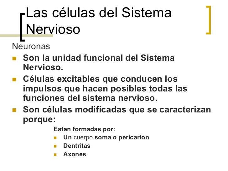 Las células del Sistema   NerviosoNeuronasn Son la unidad funcional del Sistema    Nervioso.n Células excitables que c...