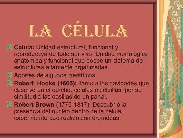 La céLuLaCélula: Unidad estructural, funcional yreproductiva de todo ser vivo. Unidad morfológica,anatómica y funcional qu...