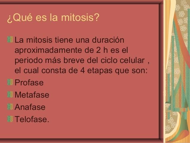 ¿Qué es la mitosis?La mitosis tiene una duraciónaproximadamente de 2 h es elperiodo más breve del ciclo celular ,el cual c...