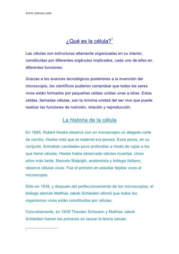 www.etareas.com                                                      1                         ¿Qué es la célula?  Las cél...